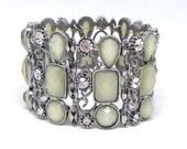 Gorgeous Light Green Beads Clear Rhinestones Silvertone Estate Bracelet