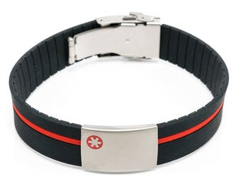 Black ID bracelet with red band, small charity tags