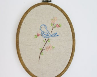 Sweet Blue Bird Embroidery