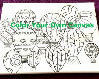Coloring Page Canvas - FREE SHIPPING - Adult Coloring Book Style Canvas - Colouring - Hot Air Balloons - Original Image