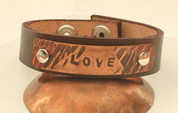 LOVE leather and copper bracelet
