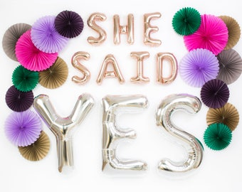 She Said Yes Balloons / Engagement Party Decorations Prop / Bridal Shower / Bachelorette Party / Rose Gold Letter Balloons