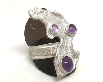 Sterling Silver & Amethyst Wrap Ring | Statement | Reticulated | Amethyst | Ring | Jewellery | Jewelery | Silver | Gift