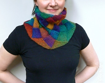 Hand-knitted entrelac multicolor shaded collar scarf/ neck warmer (green, teal, blue, purple, ruby, red, crimson, amber, orange, yellow)