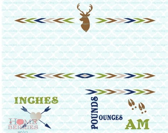 Boho Deer Birth Announcement Baby Stats Statistics Template svg dxf eps jpg ai files for Cricut Silhouette & other cutting machines