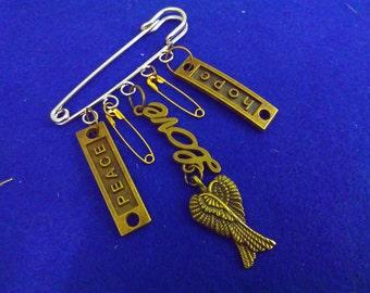 RESIST PIN, love pin, hope pin, peace pin, safety pin, antiracism pin, racism pin, racism, angel pin, solidarity pin, Trump, steampunk, pin