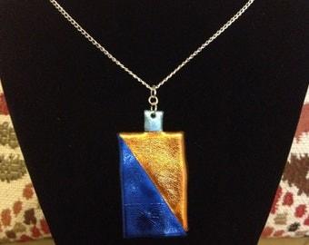 Shiny iridescent metallic colourful Friendly Plastic necklace, Orange and Blue