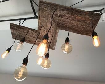 reclaimed wood edison bulb chandelier - Edison Chandelier