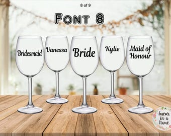 Bridal party or personalised stickers for glasses, Bride, Bridesmaid, Maid of Honour Groom, Groomsman, Best Man, Mother of the Bride