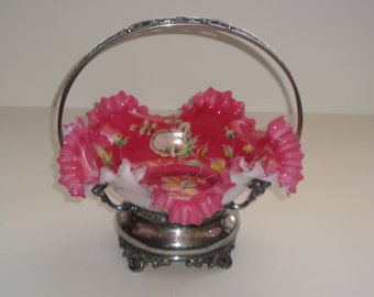 Victorian Period Art Glass Bride's Basket by Wilcox Silver Plate Company Quadruple Plated Silver Stand #8019