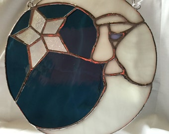 Man In The Moon Stained Glass Window Hanger. Large round suncatcher. Perfect for a child's room or nursery decor.