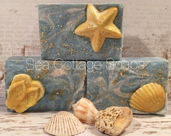 Salty Sea Air- Sea Salt Soap Bars-Luxury Salt Bars-Sea Shells