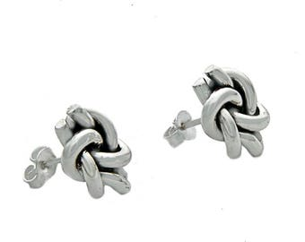 Nautical Double Knot Stud Earrings, Sterling Silver Knot Earrings, Promise knot, Knot Studs, Sailor Knot, Love Knot, Friendship Knot