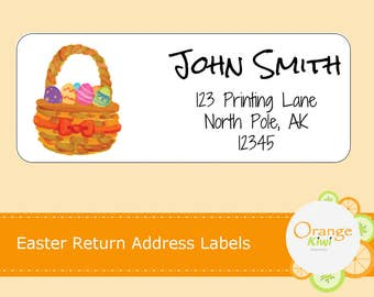Easter Basket Return Address Labels, Return Address Stickers, Custom Return Address Stickers, Mailing Labels, Shipping Labels