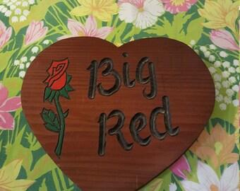 Vintage Handmade Wooden Folk Art Sign BIG RED Primitive