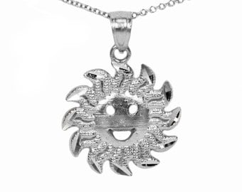 925 Sterling Silver Happy Face Sun Pendant Necklace