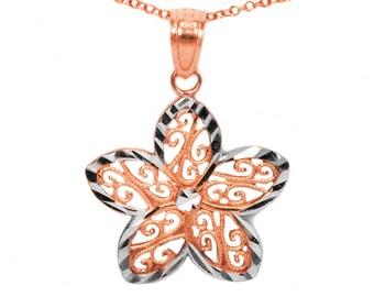 14k Rose Gold Flower Necklace