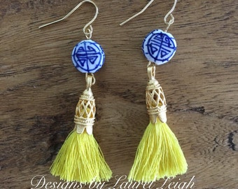 SALE | Chinoiserie Tassel Earrings - YELLOW, blue and white, Royal Blue, porcelain, Asian, delft, navy and white, gold