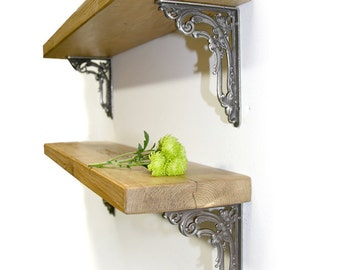 Rustic wood Thin 4.5cm Shelf Shelves Victorian Flower Iron Brackets