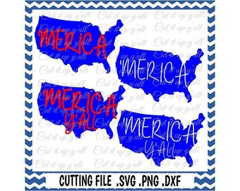 Merica, Usa Svg-Dxf-Fcm-Png, Cutting File For Cricut Design Space and Silhouette Cameo, Svg Download