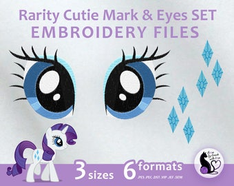 My Little Pony - Rarity Cutie Mark & Eyes SET - Embroidery Machine Design