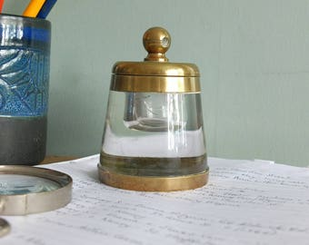 Antique Glass and Brass Inkwell Vintage Office Paperweight