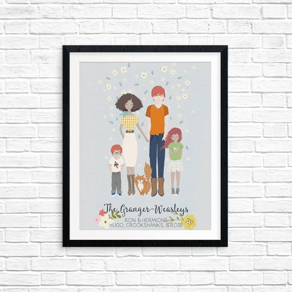 Printable, Custom Family Portrait, Illustrated Family & Pets, Housewarming Gift, Personalized Gift