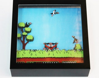 Duck Hunt (NES) Video Game Shadow Box with Frame