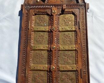 Oriental Art old hinged door hammered copper