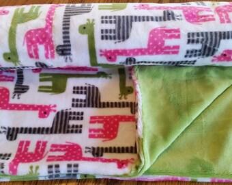 Toddler Blanket, Giraffe Blanket, Soft Cuddly Blanket