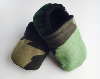 Camouflage Crib Shoes Soft Baby Vegan Booties Newborn Crib Shoes Gender Neutral Best Baby Shower Gift Newborn Shoes - READY TO SHIP!