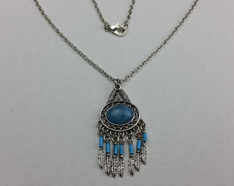 Blue Dream Feather Necklace