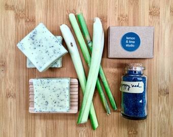 Handmade natural Olive oil Soap - Lemongrass, lemon myrthe essential oil and Poppy seeds