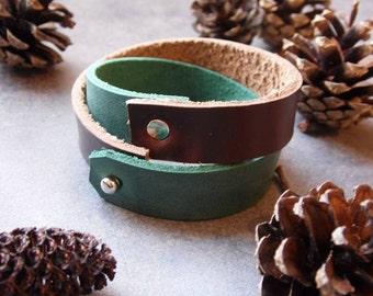 leather bracelet, wrap bracelet, leather wrap, boho bracelet, leather jewelry, green bracelet, leather cuff, brown bracelet, wrap leather