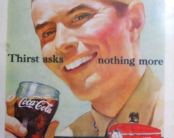 1951 Coca Cola ad.  1951 Coca Cola and Marine Corps ad.  Coca Cola and Marine Corpsman.  Korean War.