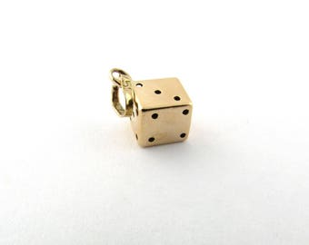 Vintage 14K Yellow Gold 3D Lucky Dice Pendant #1655