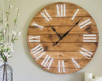 """30"""" Large Wall Clock, Rustic Wall Clock, Painted Clock, Oversized Clock"""
