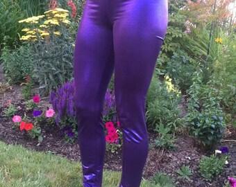 Purple Goddess Metallic Leggings