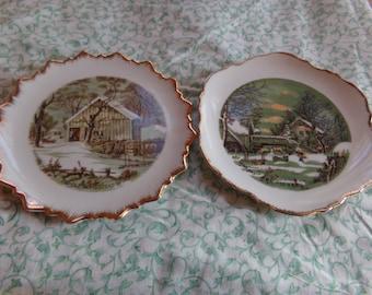 Vintage Currier & Ives 7' Plates Set of 2