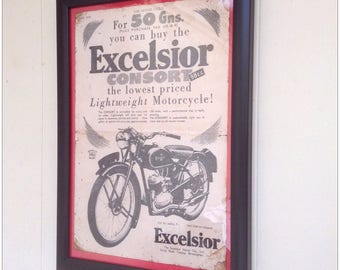 Aged reproduction Excelsior Consort vintage motorcycle advert in frame.