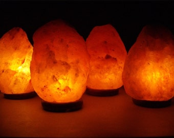 Medium Himalayan Salt Lamp on Wood Base 5-6 inches tall 4-6 lbs with Bulb and Cord Now Priority Ship 1-3 DAYS!