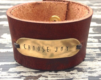 Women's Leather Cuff Bracelet, Hand-Stamped Brass Cuff, Choose Your Words, Create Your Own, Gift for her, Word of the Year, Gift Under 30