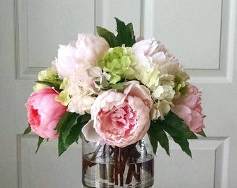 Real Touch Peonies And Hydrangea Dining Room Centerpiece Flowers