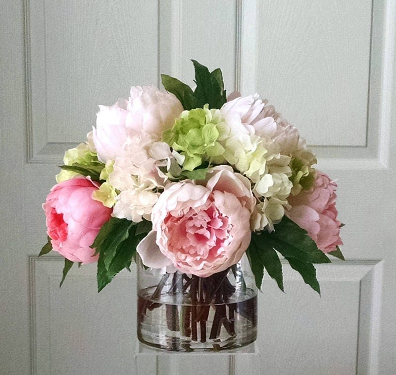 Real Touch Peonies and Real Touch Hydrangea-Dining-room Centerpiece-Real Touch Flowers-Pink Pink Peonies for Home Decor-Table Centerpiece