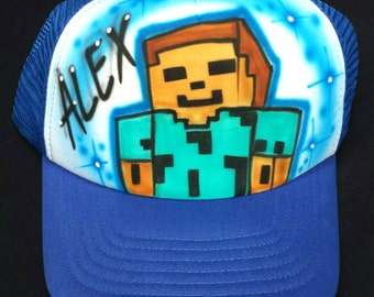 Airbrushed Minecraft Steve Inspired Hat Trucker Snapback Personalized  With Your Name