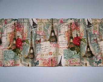 Eiffel Tower Paris France Rose Postcard Valance Window Curtain