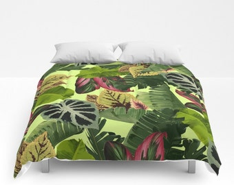 Tropical Duvet Cover, Full Queen King, Tropical Leaf Pattern, Pink Green Bed Cover, Banana Leaf Bedding, Green Comforter, Botanical Bedding