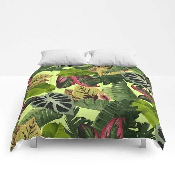 Tropical Duvet Cover Full Queen King Tropical Leaf Pattern