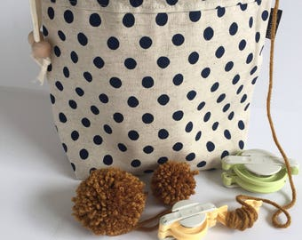 Navy Polka Dot Drawstring Knitting Crochet Project Bag