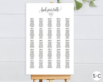 Wedding Seating Chart Template, Seating Template, diy seating chart, seating plan, wedding seating plan, seating chart sign, Seating Chart